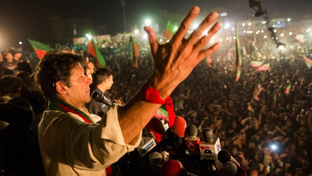 Leader Of PTI Imran Khan Injured During A Campaign Rally After A Fall