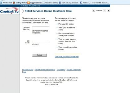 Access To Capital One Customer Care For Retail Services - In